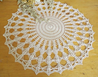 Vintage Crocheted Doily  Doilys Large Ecru Doilies  Centerpiece  D16