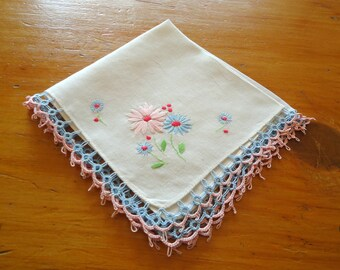 Handkerchief Hanky Hankie Hankys Antique Handkerchief Vintage Hankerchief Crocheted Butterfly