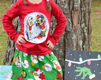 Authorized Grinch Fabric  Christmas skirt (18 mos, 24 mos,  2T, 3T, 4T, 5, 6, 7, 8, 10)