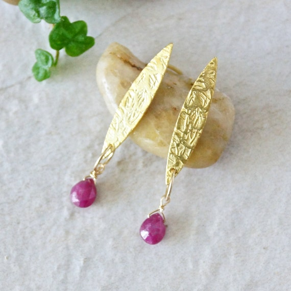 Natural untreated ruby earrings - gold vermeil - gold over sterling silver