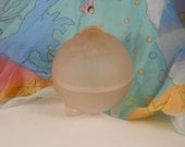Lovely glass pale pink frosted trinket box vintage