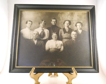 Vintage Picture of Family 1915 Vintage Clothing Black and White 8X10 Framed Glass