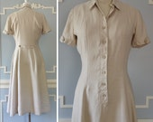 1940s Safari Dress --> Cotton/Linen Dress --> 1940s Vintage Dress --> Vintage 1940s Dress --> 1940 Dress --> 40s Dress --> Cream Dress