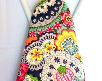 Ironing Board Cover - Green, red, yellow, pink, grey and purple floral Fabric - Laundry and Housewares