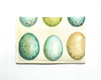 Business Card Holder - Eggs in turquoise, beige, green and seafoam blue