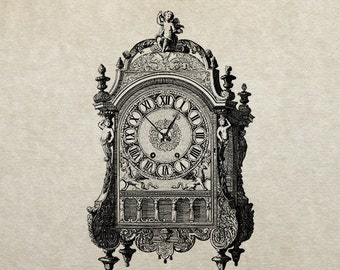 80% OFF - Ornate wall clock (Image 64) - PNG / JPG Digital Image Download - Transfer / Iron on / Clip-art / Commercial Use