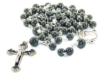 Hematite Catholic Rosary, Pope Francis Center - Traditional Rosary for Men or Boys
