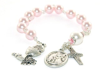 First Holy Communion Pink Pearl Chaplet Rosary, Guardian Angel Medal