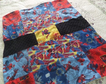 "Super Hero SPIDERMAN patchwork block square . so soft bumpy minky, cotton, fleece & flannel Baby blanket 31.5"" by 38"""
