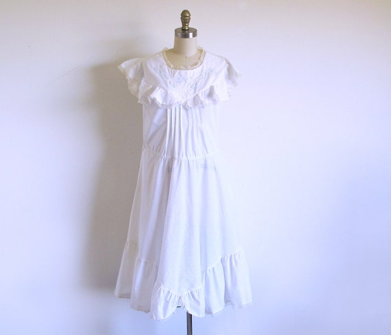 White Cotton Sleeveless Ruffle Dress Beach Wedding