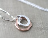 Freeform Silver & Rose Gold Necklace - Gift for Her - Gift Women - Gift for Women - Bridesmaid Gift - Modern Minimal Necklace