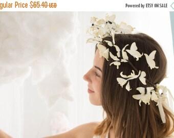 Christmas SALE Light Yellow Wedding Butterflies Crown Tiara Coronal Wholesale Hair Accessory Decoration Butterflies Coronal Bridal Hair Vine