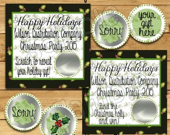 Christmas Company Party Scratch Off Game Cards Holiday Scratch Off Card Christmas scratch Game Company Party game raffle  12 Precut Printed