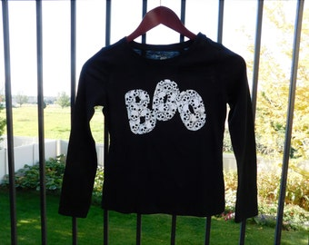 Baby, toddler, boy or girl, tween, adult Halloween shirt, onesie with BOO applique black and white skull, skeletons NB - adult