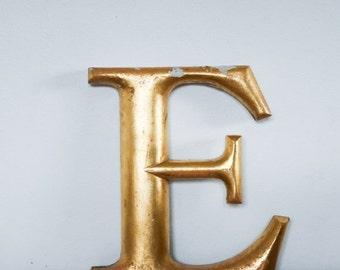 Vintage Shop letter E, 24 carat gold leaf, antique signage