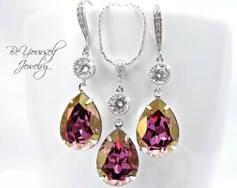 Purple Bridal Earrings Amethyst Bride Necklace Swarovski Crystal Lilac Shadow Teardrop Wedding Jewelry Mauve Bridesmaid Gift Bridal Jewelry