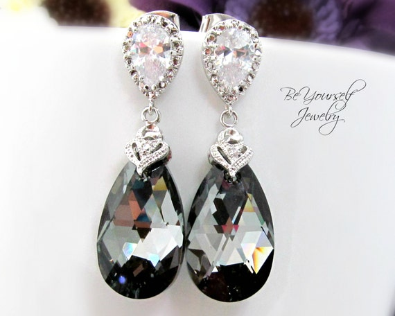Dark Grey Bridal Earrings Charcoal Teardrop Bride Earrings Swarovski Crystal Silver Night Wedding Jewelry Zirconia Sterling Bridesmaid Gift