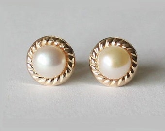 Genuine pearl studs in gold filled, 14K gold filled post studs earrings, Bridesmaids earring, Mother's gift, Vintage inspired pearl earring