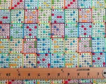 BIngo Small Cards Cotton Fabric Fat Quarter Or Custom Listing