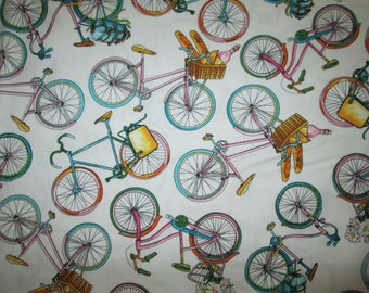 Bicycles Bikes Baskets Food Pastel Colors Cotton Fabric Fat Quarter or Custom Listing