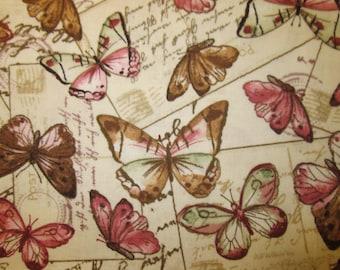 Paris Butterfly Butterflies Post Cards Script Natural Cotton Fabric Fat Quarter or Custom Listing