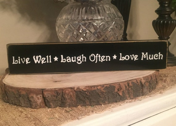 live well laugh often love much mini wooden by shabbysignshoppe. Black Bedroom Furniture Sets. Home Design Ideas