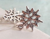 Snowflake Earrings. Snow Flake Charms. Winter Jewelry. Dangly Earrings. Christmas Gift. Stocking Filler