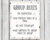 Group Rules Confidentiality Poster School Counselor Counseling Lunch Bunch Office Therapy Respect Character Pillars Digital Print Wall Art