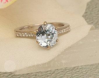 Ice Blue Sapphire Engagement Ring 14k White Gold Diamond Accented Gemstone Engagement Ring Weddings Anniversary