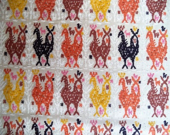 """Rooster fabric/ vintage chicken rooster fabric/ ikat style print/ country hen fabric/ orange yellow brown black/ sold by the yard 35"""" wide"""