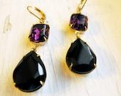 Vintage Earrings Vintage Glamorous Earrings Vintage Inspired Bridal Jewelry Amethyst Earrings Black Earrings Purple Earrings Old Hollywood