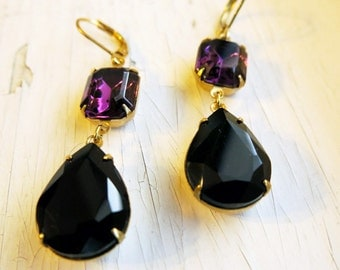 Purple Amethyst Earrings Purple Earrings Vintage Earrings Purple and Black Earrings Bridal Jewelry Bridesmaid Gift Wedding Jewelry