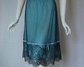 1950s Vanity Fair Blue Half Slip with black lace, Large