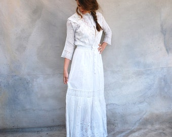 Early 1900s romantic Boardwalk Empire wedding dress- antique white cotton lace floor length dress - small