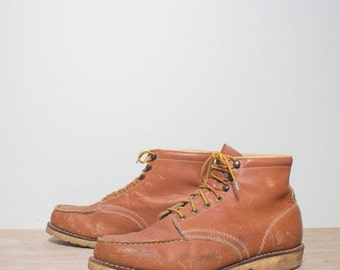 40% off Sale 11 1/2 | Men's Vintage Work Boots Short Moccasin Toe Chukka Boot in Golden Brown