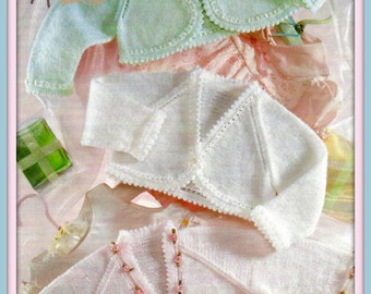 "PDF Knitting Pattern for Baby Bolero Tops - To Fit Premature baby 12"" to Toddler 22"" - Instant Download"