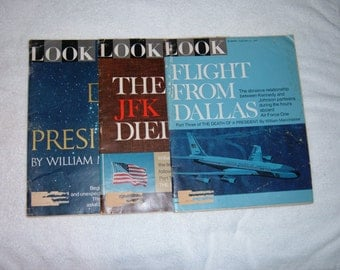 3 Vintage LOOK Magazines from 1967-Kennedy Assassination