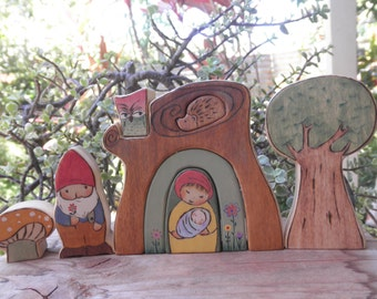 WOOD TOY SET-Gnome Family- Tree Stump Stacker Habitat-Imaginative Play-Waldorf Inspired