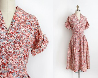 vintage 1940s dress // 40s 50s red printed day dress