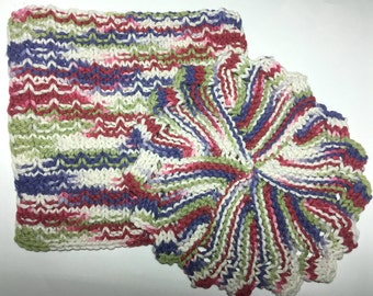 Dishcloths, knitted, handmade, multi-color, square, round