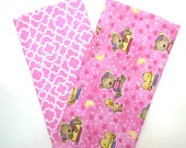 Clearance Bundle 2 Pack of Cotton Flannel Fat Quarters in Sleepy Teddy Bear and Trellis Prints