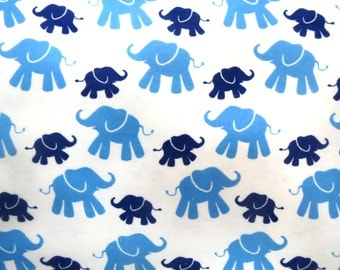Flannel Fabric by the Yard in a Light Blue and Navy Blue Elephant Print 1 Yard
