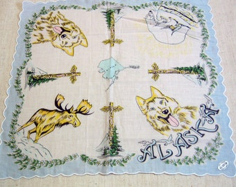 Vintage State of ALASKA Handkerchief, Mint, Never Used, Souvenir