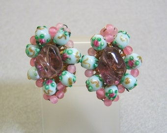 Vintage 1960s Pink, Purple and Blue Art Glass Beaded Clip On Earrings