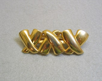 Vintage Elegant Golden Metal Hair Clip or Barrette, X's