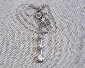 Vintage Sterling Silver Past Present and Future Cubic Zirconia Necklace
