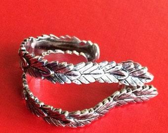 Avon Silver Leaf Hoop Earrings