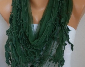 Emerald Green Tulle Scarf, Soft Shawl, Fall Scarf, Cowl,Bridesmaid Gift, Gift Ideas For Her, Women Fashion Accessorie, Women Scarves