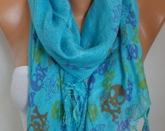 Blue Skull Print Cotton Scarf, Fall, Crossbones, Silvery, Cowl Scarf, Shawl, Gift Ideas For, Her Women Fashion Accessories Christmas Gift