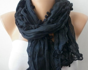Black Pompom Scarf, Shawl,Fall Scarf, Cowl Scarf, Gift Ideas For Her, Women's Fashion Accessories,Halloween Gift,Christmas Gift